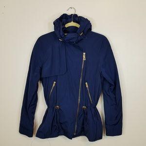 Zara Basic Royal Blue Hooded Wind Braker NWOT